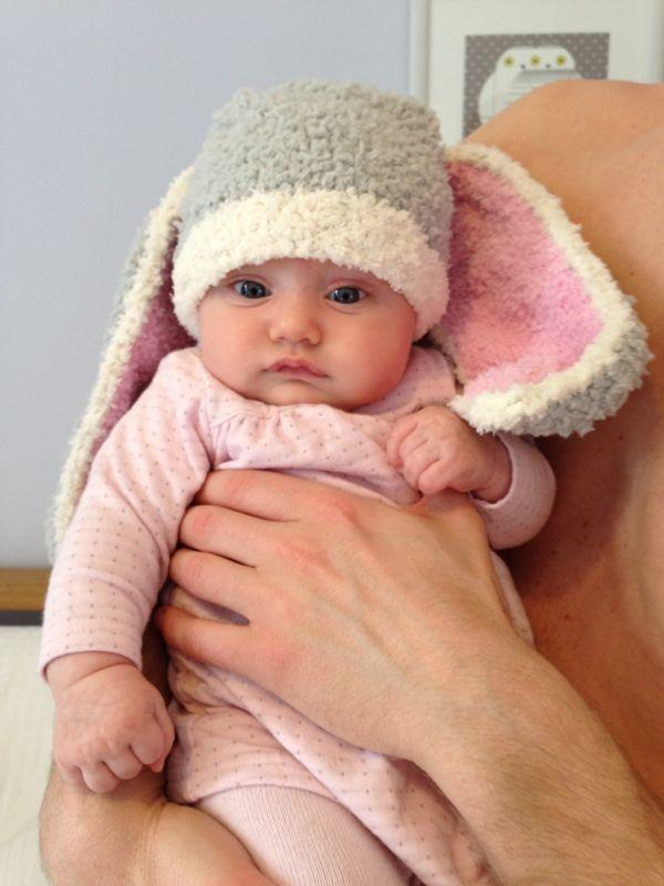 knit baby hat with bunny ears pattern