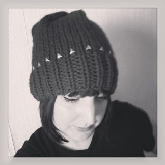 Studded beanie hat