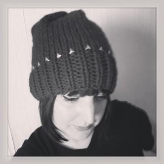 Studded beanie hat