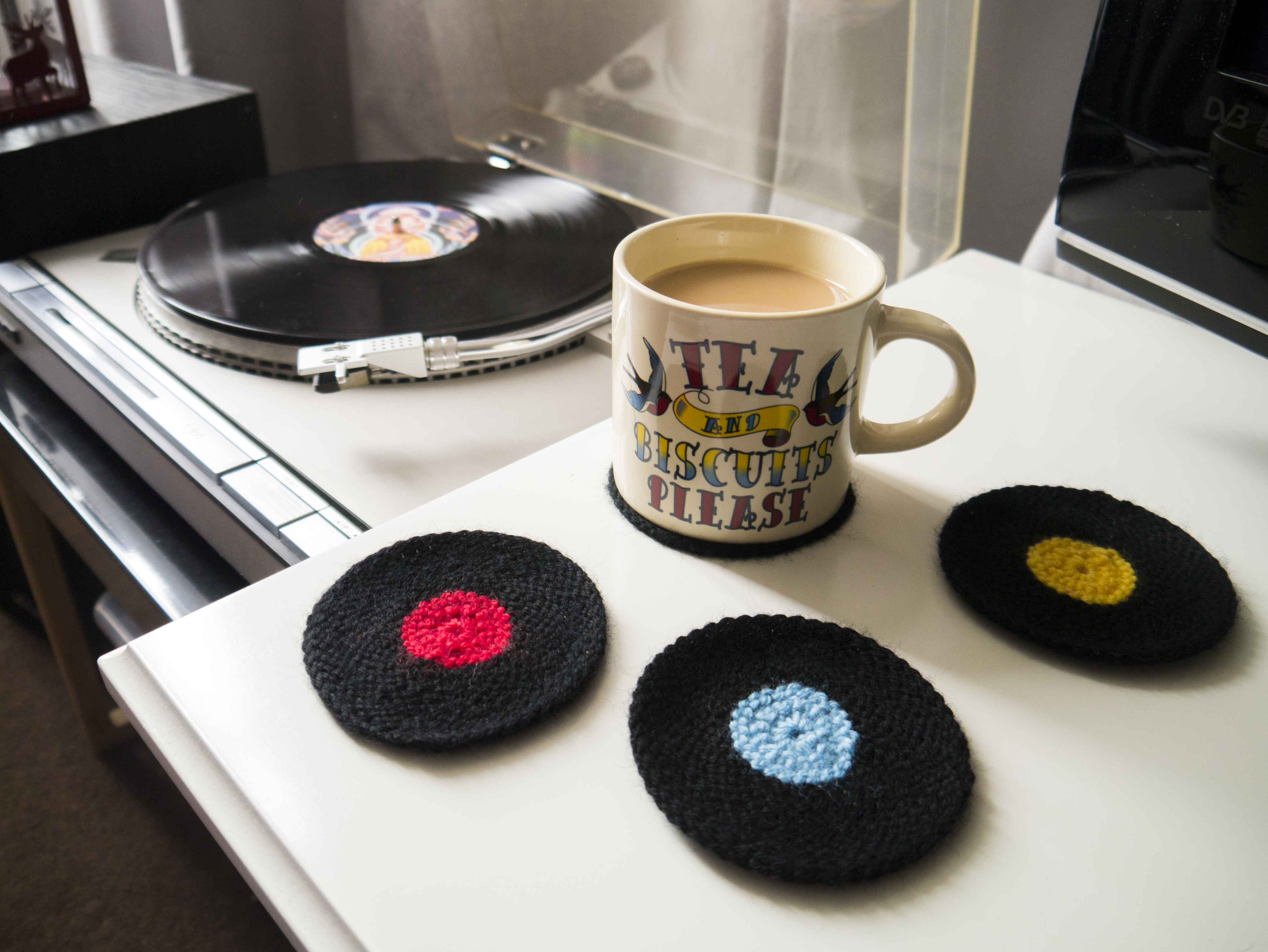 Vinyl Record Coasters by Knitti Politi – Julie & The Knits