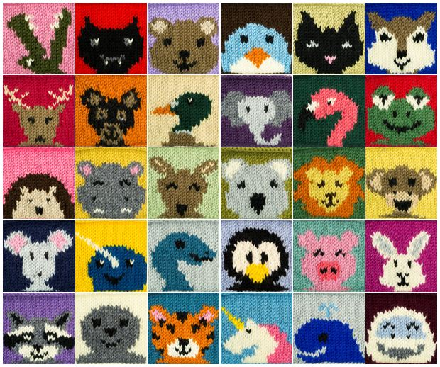30 Animal Squares Knitting Pattern