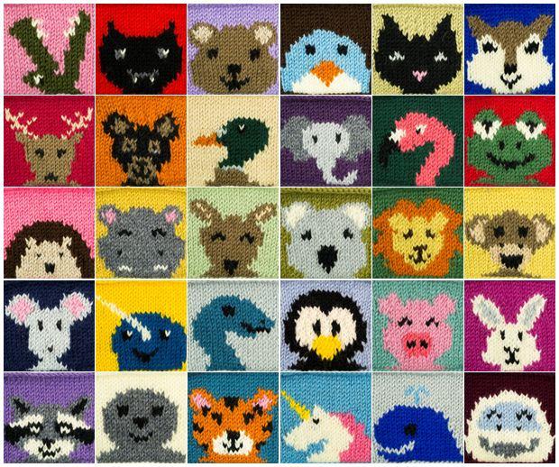 30 Animal Squares Knitting Pattern